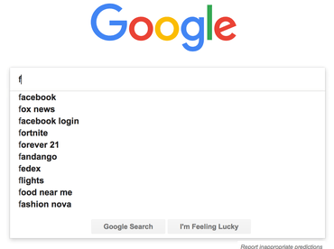 'f' - most common search term on Google