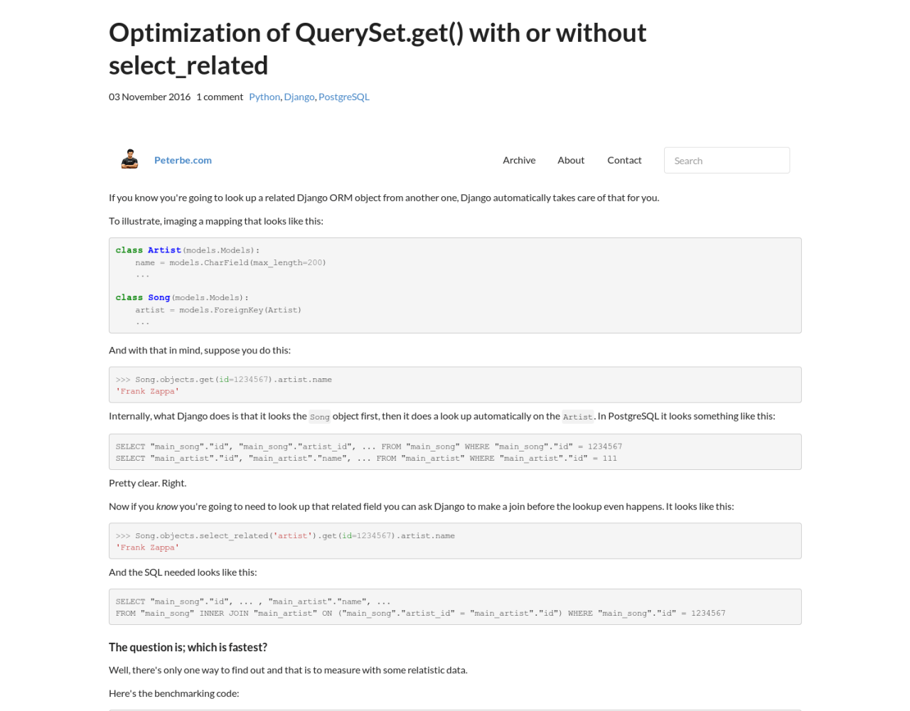 Optimization of QuerySet get() with or without
