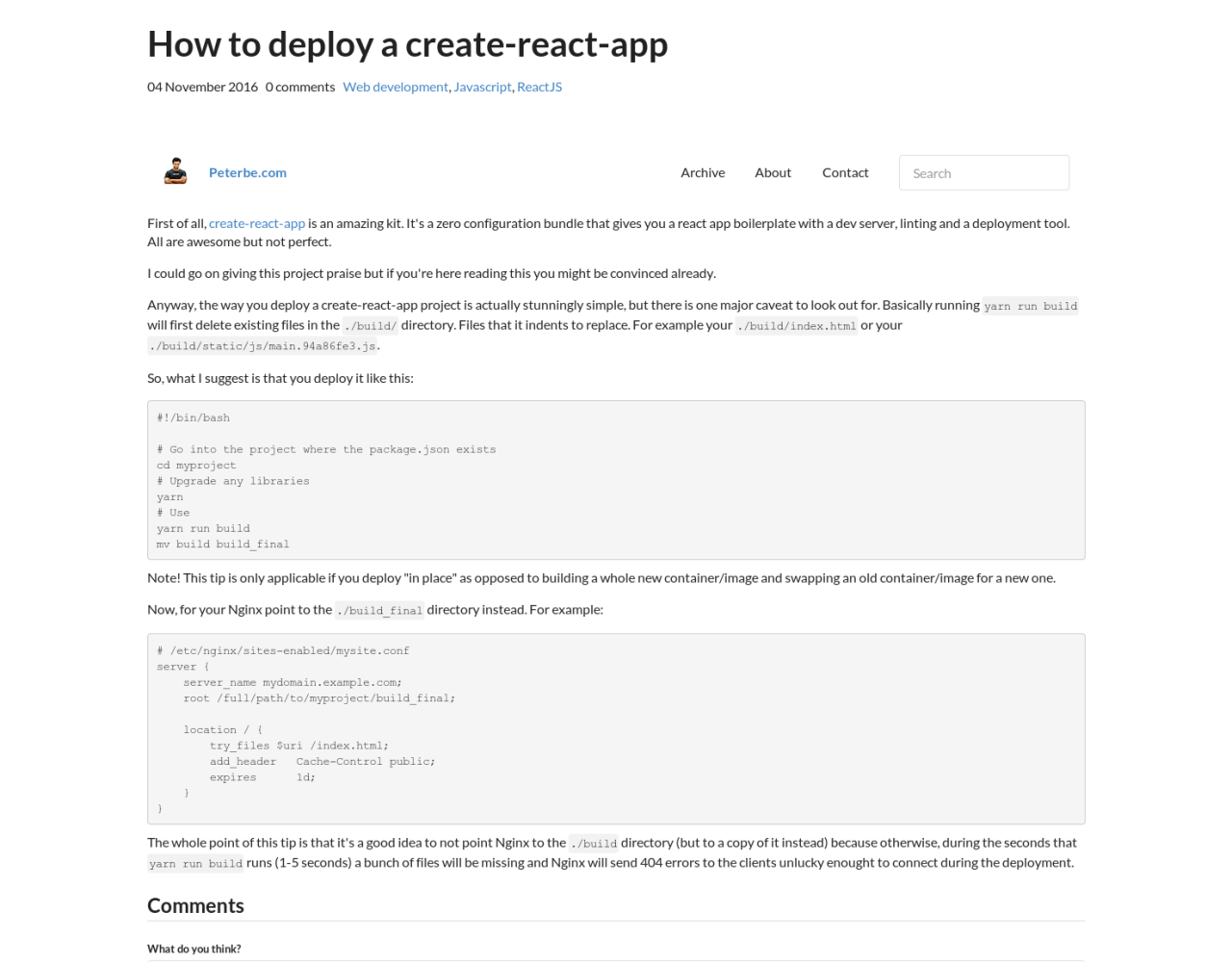 How to deploy a create-react-app - Peterbe com