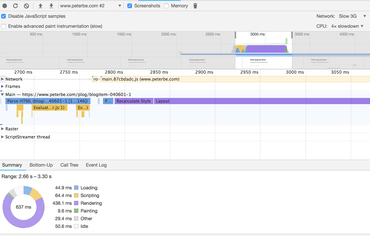 Google Chrome Performance devtools
